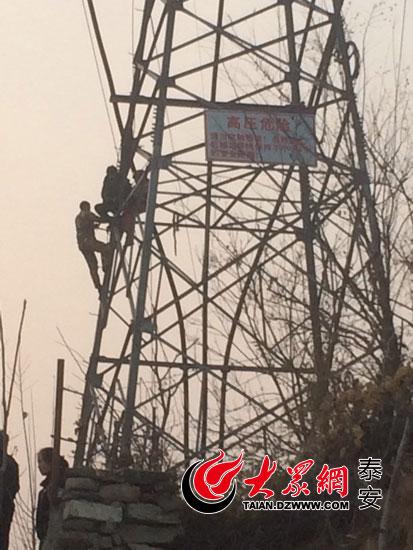 泰安一妇女爬高压电塔欲轻生