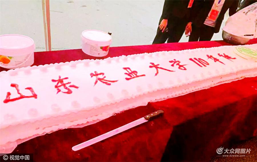 东农业大学110周年华诞,为庆祝这一重大节日,学校学生会组织制做了印有山东农业大学校徽的巨型蛋糕,长达数十米,免费为老师和学生分发,学生们纷纷写下留言,祝福农大生日快乐。